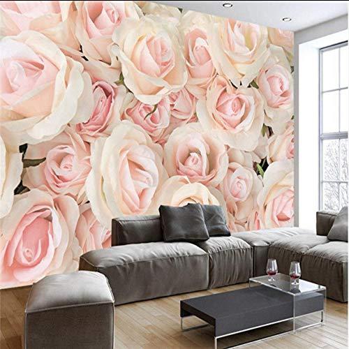 Zjxxm 3D Photo Wallpaper Romantic Wall Murals Modern Pink Rose 3D Wallpaper Bedroom Wedding Room Tv Wall Murals Wallpaper for Walls 3D -350Cmx280Cm