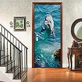 OHEHE Türfoto 3D Effekt Tier Delfin 95x215cm Türposter Wasserdicht Wandbild Abnehmbar PVC Schlafzimmer Wohnzimmer Wohnkultur
