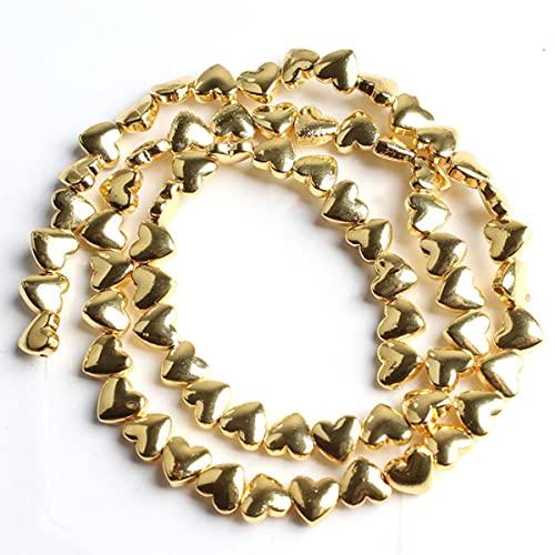 Cuentas sueltas de corazón de amor de piedra de hematita de Color rosa dorado y plateado natural para hacer joyas, pulsera DIY, oro de 5x6mm-18k