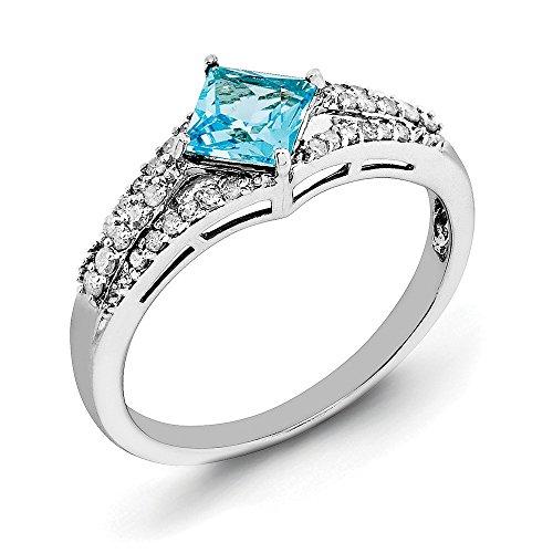 Anillo de compromiso de plata de ley 925, corte princesa, 0,70 quilates, topacio azul y diamante solitario
