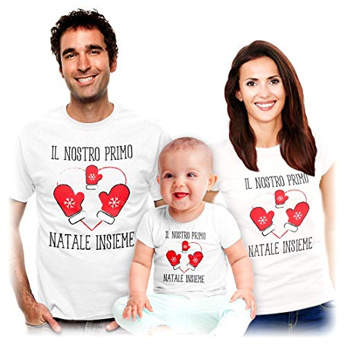 Shirtgeil Il Nostro Primo Natale Insieme - Idea Regalo per Famiglie Mamma papà Bambini Bambini Bianco 3-6 Mesi