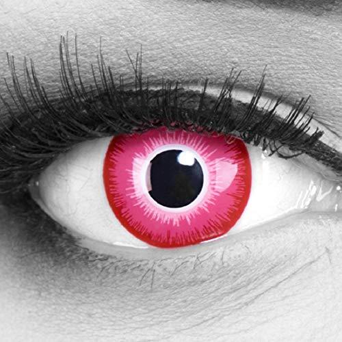 Funnylens 1 Paar farbige Crazy Fun 'emine' Jahres Kontaktlinsen. perfekt zu Halloween, Karneval, Fasching oder Fasnacht mit gratis Kontaktlinsenbehälter ohne Stärke!