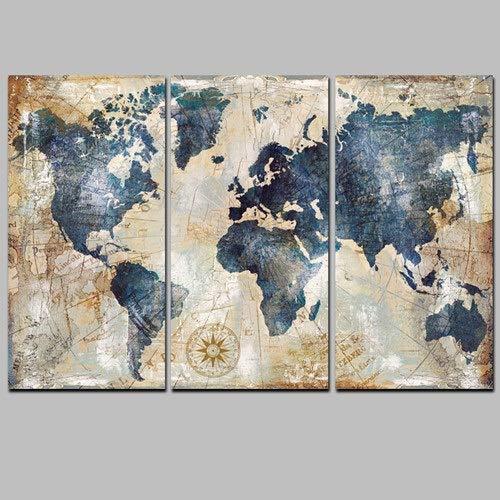Acuarela Mundial Mapa Modular Pintura Carteles e Impresiones en Lienzo escandinava Cuadros Arte Cuadro de la Pared for Sala de Estar Sin Marco (Color : PT1766, Size (Inch) : 40x70cmx3 Unframed)