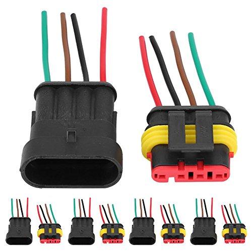 KIMISS Conector eléctrico a prueba de agua Enchufe,10Pcs 4-Pins Conector eléctrico Impermeable...