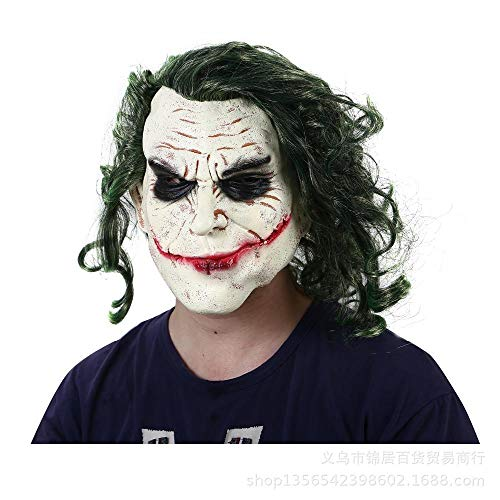 XWYWP Mscara de Halloween Joker Mscara Pelcula La Oscuridad Cosplay Terror Temor Payaso Mscara con Pelo Verde Peluca Halloween Mscara de Ltex Fiesta Disfraz Verde