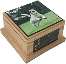Memorial Pet Urn, Wooden Dog Cremation Urn, Dog Photo Urn with Custom Engraving