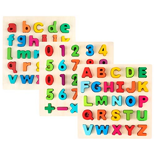 Toy To Enjoy Alphabet Puzzles Learning Board Toy - Ideal for Early Educational Learning for Kindergarten Toddlers & Preschools (Upper Case, Lower Case, Numbers)