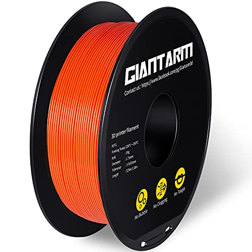 GIANTARM PETG Filament, Filamento de impresora 3D 1.75mm, Precisión dimensional +/- 0.2mm, 1kg, Naranja