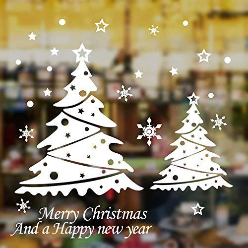 Natale Vetrofanie Display Rimovibile Adesivi Murali Fai Da Te Fiocco Di Neve Albero Di Natale Finestra Decorazione Vetrina Wallpaper