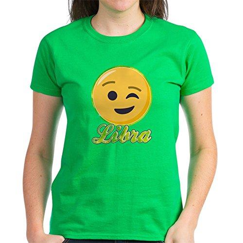 CafePress Damen T-Shirt Emoji Waage Horoskop dunkel Baumwolle Gr. M, kelly