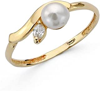 First Communion 18K Gold Ring Pearl Zircon Smooth Band Center Girl