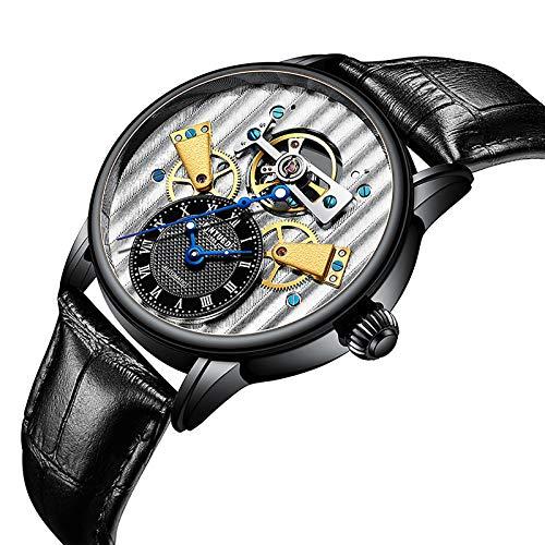 JTTM Reloj mecánico Impermeable Luminoso automático Explosivo Hombre de Negocios para Hombres Regalos para Hombres,Negro