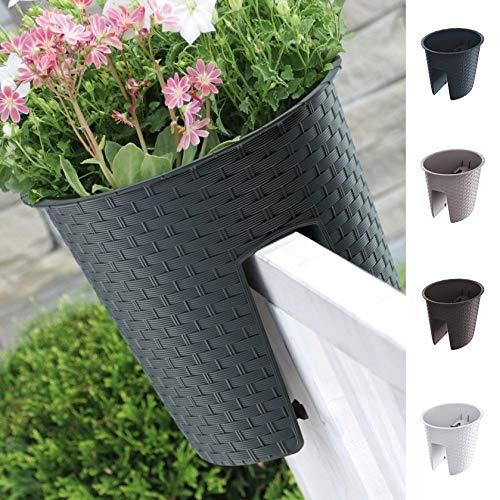 Blumenkasten Balkonkasten Railing Oval Geländerkasten Blumentopf 4 Farben Rattan Optik (Mocca)