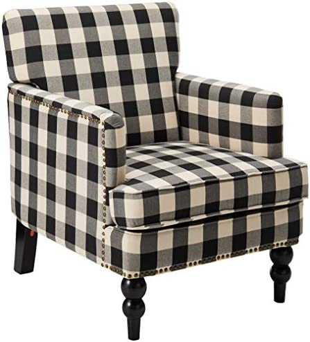 Best Christopher Knight Home Evete Tufted Fabric Club Chair, Black Checkerboard