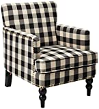 Christopher Knight Home Evete Tufted Fabric Club Chair, Black Checkerboard