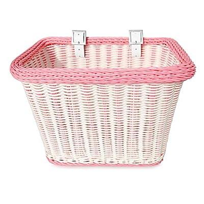 Colorbasket Adult Front Handlebar Rectangle Bike Basket - White with Pink Trim