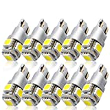 Kashine T10 W5W LED Bombillas 194 168 5SMD 5050 LED Lampara Luz Coche Blanco de interior T10 Wedge Lampara para Coches luces de la matrícula luces laterales 12V(10 piezas)