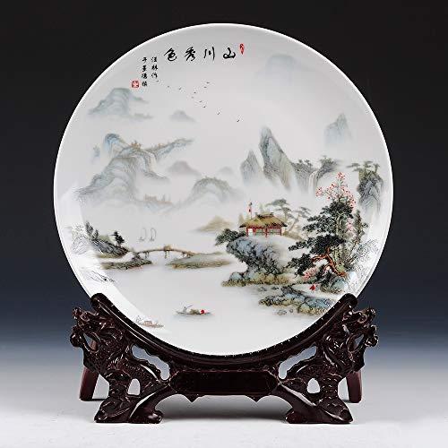Decoratieve plaat met draak gevormd, oude China landelijke bergen en water landschap schilderen, handgemaakte witte keramiek kunst decoratie ornament platen voor display woonkamer tafel eenrich