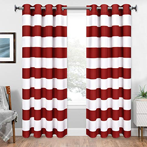 Striped Window Curtains, Red and White Striped Curtains with Grommets for Bedroom Living Room, Set of 2 Panels, 52 x 63 Inch Length