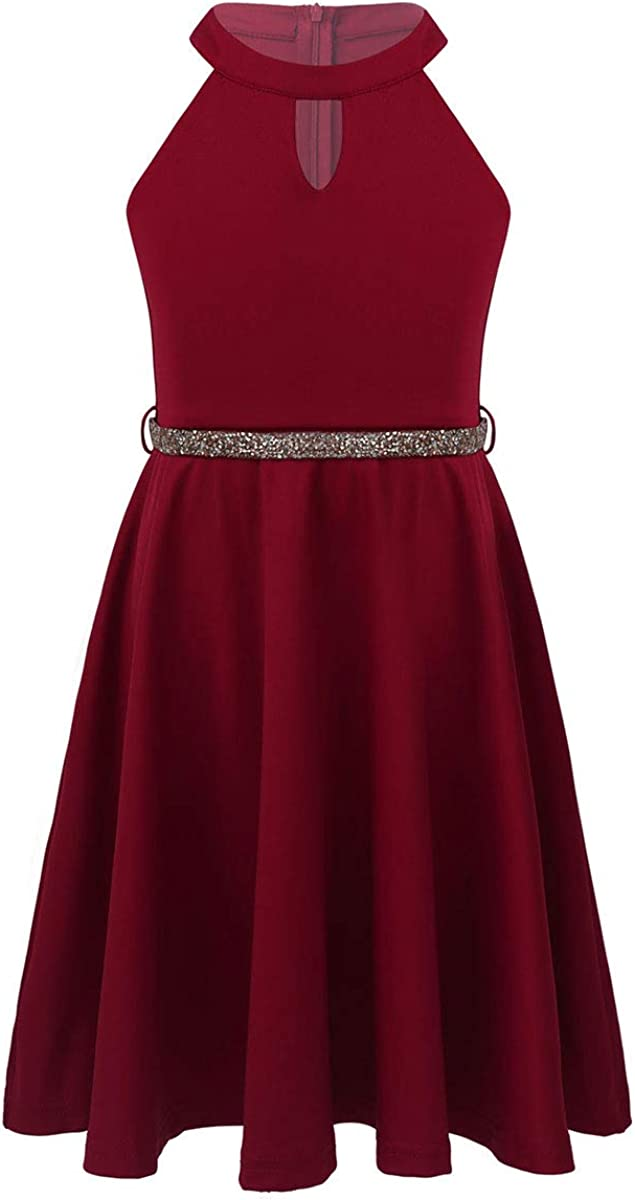 inhzoy Girls Kids Halter Sleeveless Rhinestones Belt A Line Skater Dress Wedding Graudation Prom Formal G