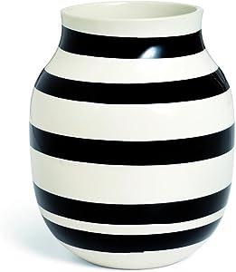 Kähler Omaggio Vase, Keramik, Schwarz-Weiß, 20 x 16,5 cm