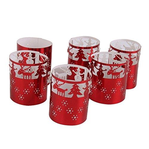 6 Led Teelichthalter Hochzeit Tischdeko Weihnachten Bäume Muster (Rot)