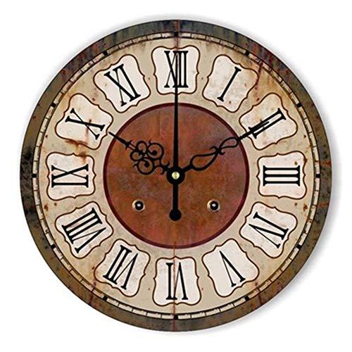 FOOSKOO Wall Clocks Horloge Murale Style rétro Vintage Vintage muet Grande Horloge Murale Montre Shabby Chic Home Decor Salon 16 Pouces / 40 cm (Conception : J)