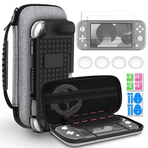 Hianjoo Tasche Kompatibel für Switch Lite, Travel Hülle Hartschale Hülle & Anderes Kompatibel für Switch Lite Zubehör, Aufbewahrungs Tasche/Schwarz Hülle/Schutzfolie/Handgriffe Kappen