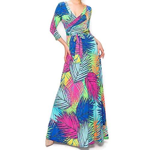 Janette Fashion Neon Butterfly Palm Florals Faux Wrap Maxi Dress