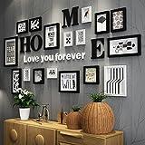 Photo Wall ALUK- 17 Conjunto de Marcos múltiples Negro Blanco Rojo-marrón Madera Bricolaje Área Grande Foto Cuadro Cuadro de Pared Combinación Escalera Pintura Decorativa, 207 * 97cm (Color : #A)