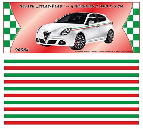 carstyling XXL Italy-Stripe Streifen Italien-Design 5 m x 60 mm ~ schneller Versand innerhalb 24 Stunden ~
