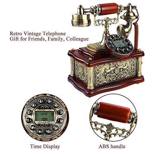 Teléfono de estilo antiguo vintage retro, escritorio telefónico clásico de madera de Europa FSK / DTMF Teléfono fijo de marcación rotativa con 38 registros identificación de llamadas para decoración