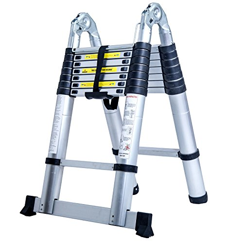 C.S.L16.5Ft Aluminum Multi Purpose Ladder Telescoping Telescopic Extension Folding