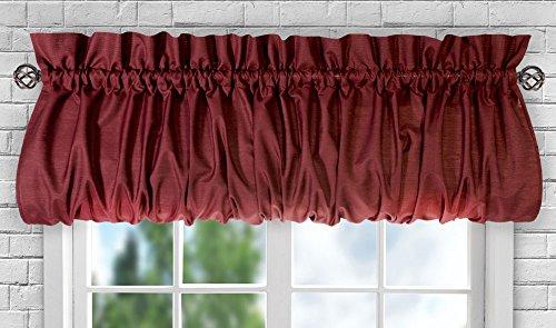 """Ellis Curtain Stacey Sheer Balloon Valance, 60"""" x 15"""", Merlot"""