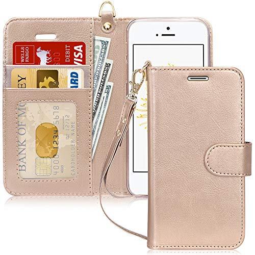 FYY Coque iPhone SE, Coque iPhone 5S, Coque iPhone 5, [Or Luxueux] Étui en Cuir PU de première qualité avec Coverture Toute-Puissante pour Apple iPhone SE/5S/5 Or