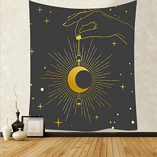 Sol Luna Psicodélico Colgante de pared Tapiz en blanco y negro Arte de la pared Paño Decoración del hogar Fondo de tela Tapiz A15 150x200cm