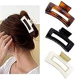 3 Stück Kunststoff Haar Haarklammer,Rechteckig Rutschfeste Haare Klaue Haarklammern für Dickes...