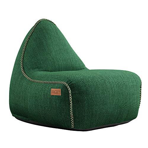 SACKit - RETROit Cobana - Outdoor/Indoor Sitzsack & Sessel mit Lehne - Perfekt für die Lounge, draußen im Garten oder Balkon - Kombinierbar mit einem Hocker - Dänisches Design - Grün
