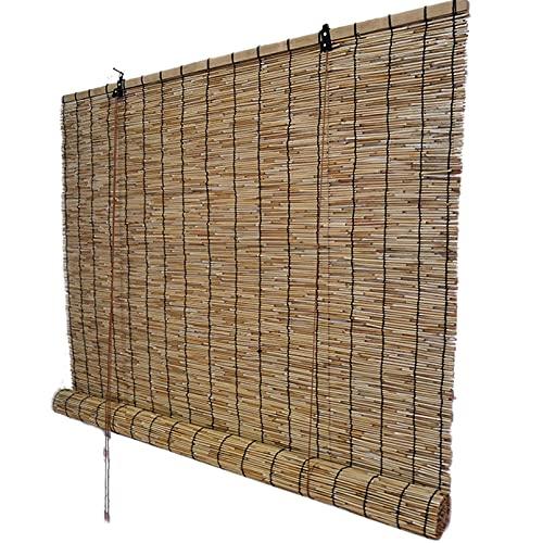 HAOMENGG Estores de Bambú,Persiana de Bambú para Interiores,Cortina de Caña con Polea,Cortina de Paja,Toldo Vertical,Persianas Romanas,para Interiores,Exteriores,Personalizables (140x300cm/55x118in)