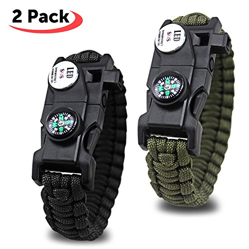 SOS Paracord Bracelet, 20 en 1 Kits de Survie d'urgence avec LED Light, Fire Starter, Boussole, Sifflet Parfait pour la randonnée Camping(2Pack