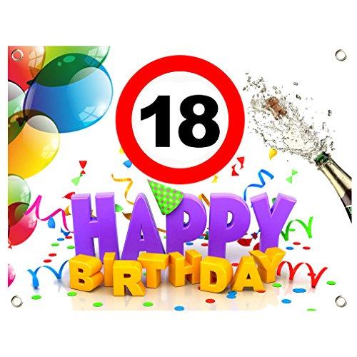 SHIRT-TO-GO 18. Geburtstag Geburtstagsbanner Geburtstags Plane Banner PVC 1,30m x 1,00m zum 18. Geburtstag