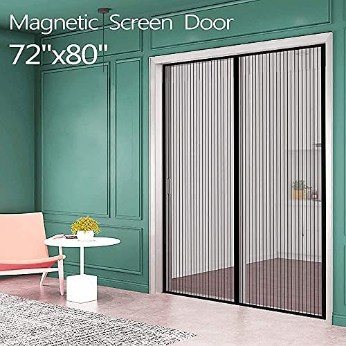 """Magnetic Screen Door for French Door (72""""W80""""L) IKSTAR Sliding Screen Door with Full Frame Magic Tape Instant Double Mesh for Front Door Kids/Pets Walk Through Fit Door Up to 70""""x79"""" Max"""