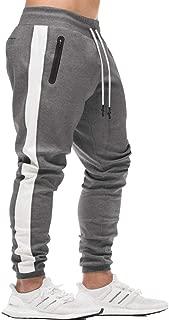 EVERWORTH Men's Gym Workout Stripe Jogger Pants Slim Fit Tapered Sweatpants Running Track Pants Zipper Pockets