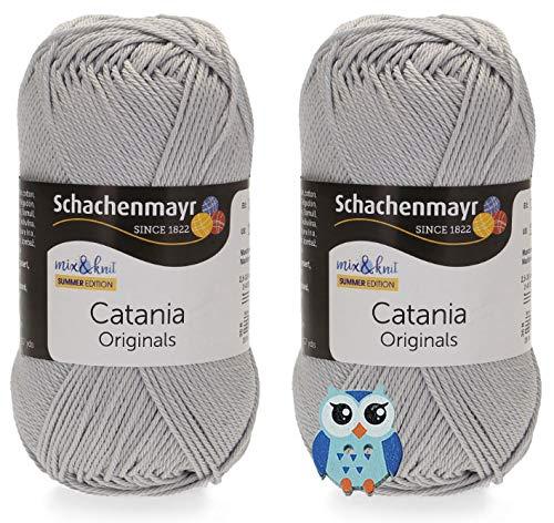 Schachenmayr Catania Wolle 2x50 Gr, 100% Baumwolle + 1 Eulen Knopf(434 Nebel)