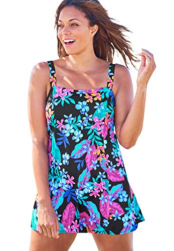 Swimsuits For All Women's Plus Size Princess-Seam Swim Dress Swimsuit - 14, Paradise Floral
