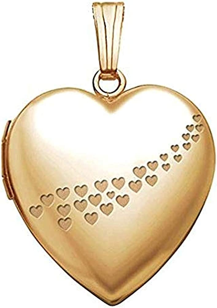 PicturesOnGold.com Solid 14K Yellow Gold Sweetheart with Cascade of Hearts Locket 3/4 Inch X 3/4 Inch in Solid 14K Yellow Gold with Engraving
