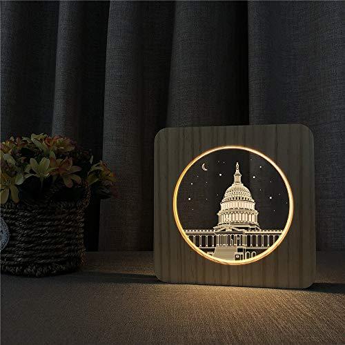 BFMBCHDJ Weiße Haus Gebäude 3D LED Arylic Holz Nacht Lampe Tisch Lichtschalter Control Carving...