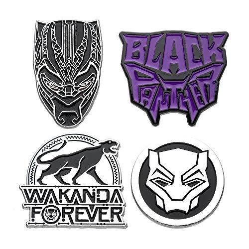 Marvel Comics Unisex Adult Black Panther Wakanda Forever Enamel Pin Set (4 Piece), Black/Violet, One Size
