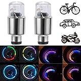 CJRSLRB 2Pack Bike Tire Valve Light, Car LED Wheel Lights, Waterproof Wheel Valve Cap Lamp for Bike/Car/Motorcycle (Colorful)