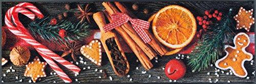 Küchenläufer Größe ca. 60 x 180 cm - Orangen - Gewürze - Zimt - Winter - Weihnachten - Küchenmatte - Teppich Läufer Küche / waschbare Küchenläufer / Küchendeko ca. 60 x 180 cm